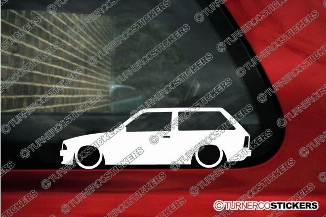 2x LOW Ford Escort Mk3 estate wagon , combi outline stickers / silhouette Decals